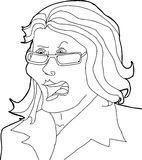 Outline Drawing of Angry Lady Royalty Free Stock Photos