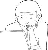 Outline Drawing of Bored Man Stock Image
