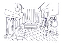 Outline drawing of clothing boutique interior with furnishings, clothes hanging on hangers, mannequin dressed in stylish Royalty Free Stock Photos