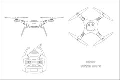 Outline drawing of drone on a white background. The control panel of quadrocopter . Front, top view Royalty Free Stock Image