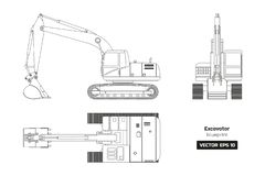 Outline drawing of excavator. Top, side and front view. Diesel blueprint. Hydraulic machinery. Industrial document. Outline drawing of excavator on white vector illustration