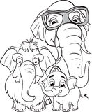 Outline drawing of the family of elephants.  Stock Image