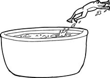 Outline Drawing of Frog Jumping Out of Pot Stock Photos