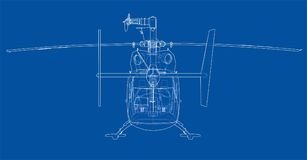 Outline drawing of helicopter Stock Images