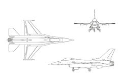 Outline drawing of military aircraft. Top, side, front view. Vector illustration Royalty Free Stock Photo