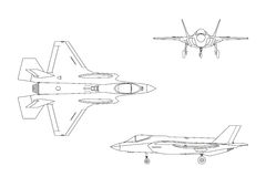 Outline drawing of military aircraft on white background. Top, s. Ide, front views. Fighter jet. Vector illustration Stock Photo