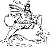 Outline drawing of Mithras slaying a black bull Royalty Free Stock Photos