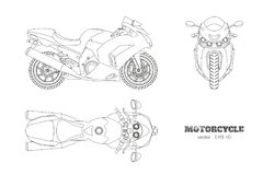 Outline drawing of motorcycle. Side, top and front view. Detailed isolated blueprint of motorbike on white background Stock Photos