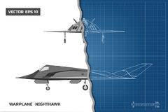 Outline drawing of plane on blue background. Industrial blueprint of military airplane. Side and front view Royalty Free Stock Images
