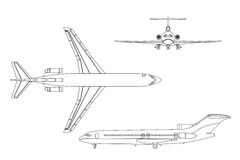 Outline drawing plane on a white background. Top, front , side v Stock Image