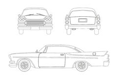 Outline drawing of retro car. Vintage cabriolet. Front, side and back view. Royalty Free Stock Photography