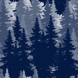 Outline drawing of spruce forest. seamless image Royalty Free Stock Photography