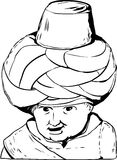 Outline drawing of 18th century Arab doll. Sketch outline close up on smiling face of 18th century Arab or Turkish Muslim doll over white background Vector Illustration
