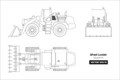 Outline drawing of wheel loader on white background. Top, side and front view. Diesel digger blueprint. Hydraulic machinery image. Industrial document of royalty free illustration
