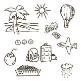 Outline drawings by hand in the journey sketch vector. Outline drawings by hand in travel sketch vector palm trees, sun, luggage, ship, balloon, coconut Stock Photo