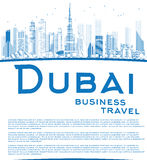 Outline Dubai City skyline with blue skyscrapers and copy space Stock Photo