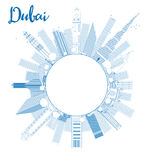 Outline Dubai City skyline with blue skyscrapers and copy space stock illustration
