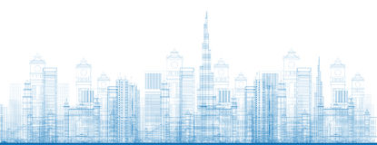 Outline Dubai City Skyscrapers in blue color Stock Photography
