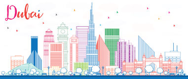 Outline Dubai Skyline with Color Buildings. Royalty Free Stock Photo