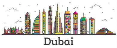 Outline Dubai UAE City Skyline with Color Buildings Isolated on Royalty Free Stock Image