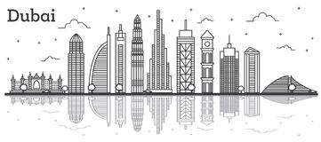 Outline Dubai UAE City Skyline with Modern Buildings and Reflect. Ions Isolated on White. Vector Illustration. Line Art Dubai Cityscape with Landmarks Stock Images