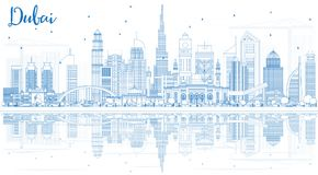 Outline Dubai UAE Skyline with Blue Buildings and Reflections. Stock Image
