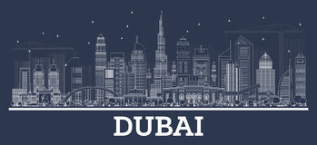 Outline Dubai UAE Skyline with Modern Architecture. Royalty Free Stock Image