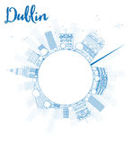 Outline Dublin Skyline with Blue Buildings and copy space Stock Images