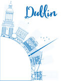 Outline Dublin Skyline with Blue Buildings and copy space Stock Image
