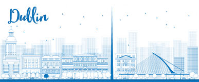 Outline Dublin Skyline with Blue Buildings, Ireland Royalty Free Stock Images