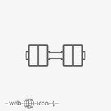 Outline dumbbell vector icon royalty free illustration