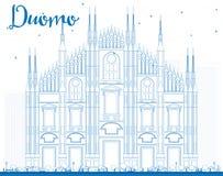 Outline Duomo in Blue Color. Milan. Italy. Stock Photos