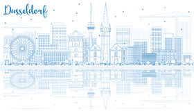 Outline Dusseldorf Skyline with Blue Buildings and Reflections. Vector Illustration. Business Travel and Tourism Concept with Historic Architecture. Image for vector illustration