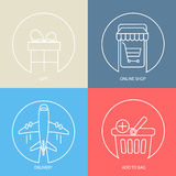 Outline e-commerce web icon set. Royalty Free Stock Image