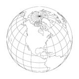 Outline Earth globe with map of World focused on North America. Vector illustration.  Royalty Free Stock Photography