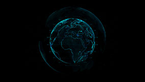 Outline earth with grid line on space illustration. Future world with technology concept Royalty Free Stock Photos