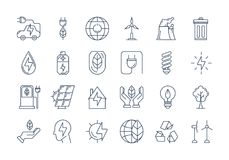 Outline ECO icons. Vector set of 24 linear outline icons. Ecology, eco system, future technology of saving resources and a clean planet Royalty Free Stock Photo