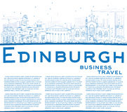Outline Edinburgh Skyline with Blue Buildings and Copy Space. Vector Illustration. Business Travel and Tourism Concept with Historic Buildings. Image for royalty free illustration