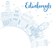 Outline Edinburgh Skyline with Blue Buildings and Copy Space. Vector Illustration. Business Travel and Tourism Concept with Historic Architecture. Image for vector illustration