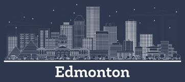 Outline Edmonton Canada City Skyline with White Buildings. Vector Illustration. Business Travel and Tourism Concept with Historic Architecture. Edmonton stock illustration