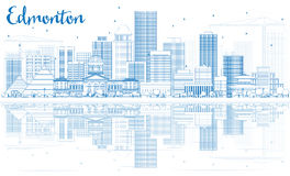 Outline Edmonton Skyline with Blue Buildings and Reflections. Royalty Free Stock Image