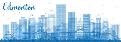 Outline Edmonton Skyline with Blue Buildings. Stock Photo
