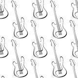 Outline electric guitars seamless pattern Stock Photos