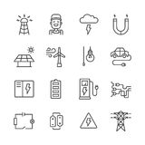 Outline Electricity Icons Royalty Free Stock Images