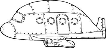 Outline of Empty Jetliner. Single empty cartoon outline of passenger airplane Royalty Free Stock Image