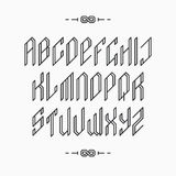 Outline empty monochromatic latin alphabet. Stock Photography