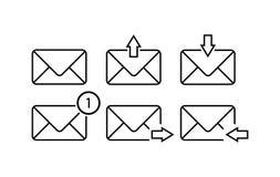 Outline envelope symbols for sites and applications royalty free illustration