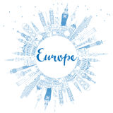 Outline Europe skyline silhouette with blue landmarks and copy s Stock Photos