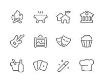 Outline Event icons. Stock Image