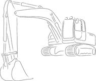 Outline of excavator, vector illustration Royalty Free Stock Photography
